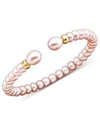 Macy's - Metallic 14k Gold Pink Cultured Freshwater Pearl Bracelet - Lyst