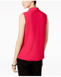 Nine West - Pink Crepe Tie-neck Shell - Lyst