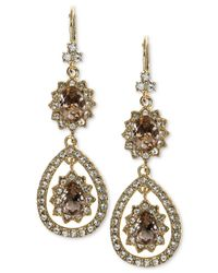 Marchesa - Metallic Gold-tone Pavé & Rose Stone Drop Earrings - Lyst