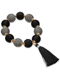 INC International Concepts - Black I.n.c. Gold-tone Wrapped Ball & Tassel Stretch Bracelet, Created For Macy's - Lyst