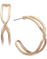 Anne Klein - Metallic Gold-tone Twist Open Hoop Earrings - Lyst