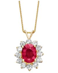 Macy's   Multicolor 14k Gold Necklace, Ruby (2-1/5 Ct. T.w.) And Diamond (1 Ct. .t.w.) Oval Pendant   Lyst