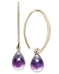 Macy's | Metallic 14k Gold Earrings, Amethyst Brio Long Hoop (6-1/2 Ct. T.w.) | Lyst