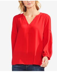 Vince Camuto - Red Bubble Sleeve Crepe Blouse (regular & Petite) - Lyst