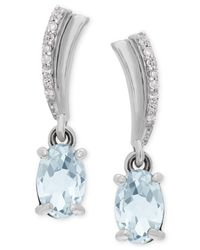 Macy's - Metallic Aquamarine (3/4 Ct. T.w.) And Diamond Accent Drop Earrings In 14k White Gold - Lyst
