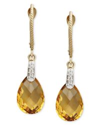 Macy's | Multicolor 14k Gold Earrings, Citrine (5-1/3 Ct. T.w.) And Diamond Accent Pear Brio Drop | Lyst