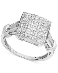 Macy's Metallic Diamond Square Ring In Sterling Silver (1/2 Ct. T.w.)