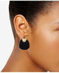 Lucky Brand - Metallic Gold-tone Yellow Pavé & Black Fringe Drop Earrings - Lyst