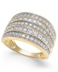 Macy's - Metallic Diamond Five Row Statement Ring (1 Ct. T.w.) In 14k Gold - Lyst