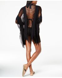 Kenneth Cole - Black Sheer Fringed Cover-up - Lyst