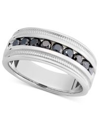Macy's | Metallic Men's Sterling Silver Ring, Black Diamond Band (1 Ct. T.w.) for Men | Lyst