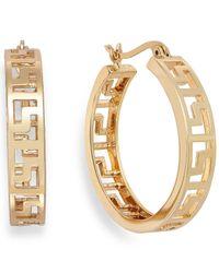 Charter Club - Metallic Gold-tone Greek Key Hoop Earrings - Lyst