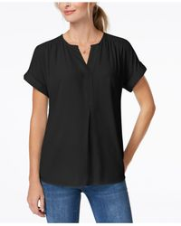Charter Club - White Cuffed-sleeve Split-neck Top, Created For Macy's - Lyst