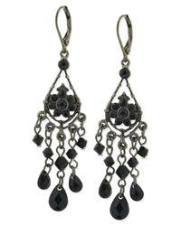 2028 | Black Earrings, Jet Bead Chandelier Earrings | Lyst