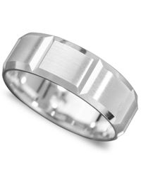 Macy's - Metallic Men's 14k White Gold Ring, Vertical Cut Band (size 6-13) for Men - Lyst