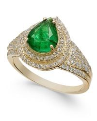 Macy's - Green Emerald (2 Ct. T.w.) & White Sapphire (3/4 Ct. T.w.) Ring In 14k Gold - Lyst