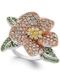 Joan Boyce - Multicolor Tri-tone Green & Clear Pavé Flower Ring - Lyst