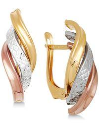 Macy's - Metallic Tri-color Twist Drop Earrings In 14k Gold, White Gold & Rose Gold - Lyst