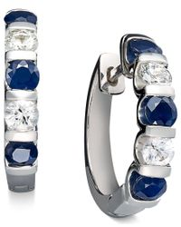 Macy's | Multicolor Sterling Silver Earrings, Blue And White Sapphire Channel Set Earrings (3 Ct. T.w.) | Lyst