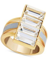 Guess - Metallic Gold-tone Crystal & White Faux Leather Ring - Lyst