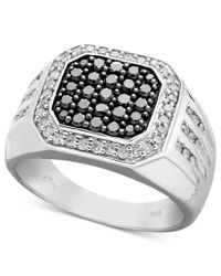 Macy's | Multicolor Men's Black And White Diamond Square Ring In Sterling Silver (1 Ct. T.w.) for Men | Lyst