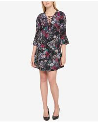Jessica Simpson - Black Printed Lace-up Bell Sleeve Dress - Lyst