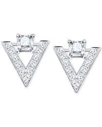 Swarovski - Metallic Silver-tone Crystal And Pavé Chevron Drop Earrings - Lyst