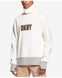 DKNY - White Colorblocked Logo Graphic Funnel-neck Sweatshirt for Men - Lyst