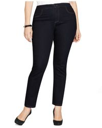 Style & Co. | Black Plus Size Tummy-control Straight-leg Jeans, Only At Macy's | Lyst