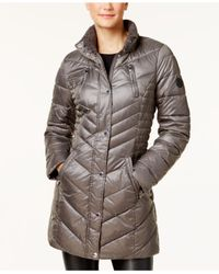 Laundry by Shelli Segal | Gray Faux-fur-trim Fleece-lined Puffer Coat | Lyst