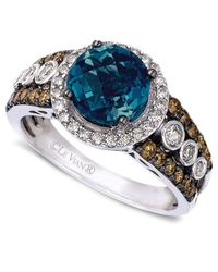 Le Vian - Blue Topaz (2 Ct. T.w.) And White And Chocolate Diamond (3/4 Ct. T.w.) Statement Ring In 14k White Gold - Lyst