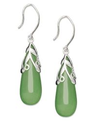 Macy's - Green Sterling Silver Earrings, Jade Leaf Top Teardrop Earrings - Lyst