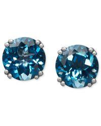 Macy's   14k White Gold Earrings, London Blue Topaz Stud Earrings (4-1/2 Ct. T.w.)   Lyst