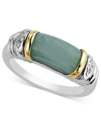 Macy's   Multicolor 14k Gold And Sterling Silver Ring, Jade And Diamond Accent Barrel Ring   Lyst