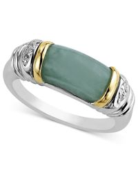 Macy's | Gray 14k Gold And Sterling Silver Ring, Jade And Diamond Accent Barrel Ring | Lyst