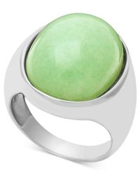 Macy's | Gray Sterling Silver Ring, Large Oval Jade Ring | Lyst