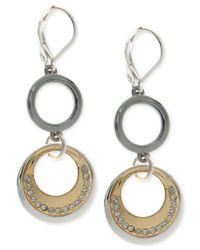 Nine West - Metallic Tri-tone Pavé Circle Double Drop Earrings - Lyst