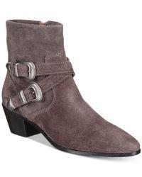 Frye - Gray Ellen Buckle Short Boots - Lyst