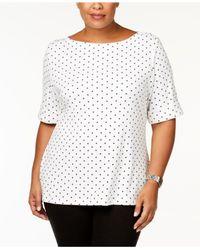 Karen Scott White Plus Size Cotton Polka Dot Elbow-sleeve T-shirt, Created For Macy's