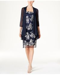 R & M Richards - Blue Floral-print Jacket Dress - Lyst
