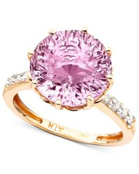 Macy's | Gray 14k Rose Gold Pink Amethyst (6-3/4 Ct. T.w.) & Diamond Accent Ring | Lyst