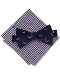 Tommy Hilfiger - Blue Men's Fox To-tie Bow Tie & Gingham Pocket Square Set for Men - Lyst