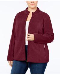 Karen Scott Red Plus Size Zeroproof Fleece Jacket, Created For Macy's