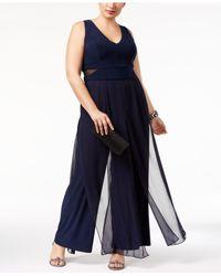 Xscape | Blue Plus Size Sheer-inset Jumpsuit | Lyst