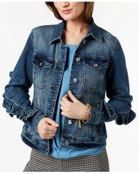 INC International Concepts - Blue I.n.c. Ruffled-sleeve Denim Jacket, Created For Macy's - Lyst