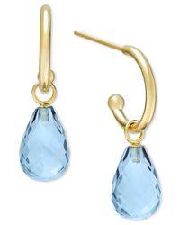 Macy's - Blue Topaz Hoop Earrings In 14k Gold (8 Ct. T.w.) - Lyst