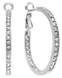 Touch Of Silver - Metallic Crystal Hoop Earrings - Lyst