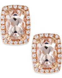 Macy's | Pink Morganite (1 Ct. T.w.) And Diamond (1/10 Ct. T.w.) Stud Earrings In 14k Rose Gold | Lyst