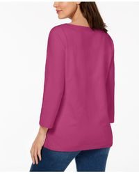 Karen Scott Multicolor Petite Lace-up Top, Created For Macy's