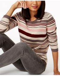 Charter Club - Multicolor Cashmere Striped Sweater - Lyst